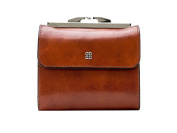 Bosca Womens Old Leather 10cm Framed French Purse Wallet - Amber