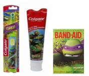 Colgate Kids Power Toothbrush Teenage Mutant Ninja Turtles + Colgate Teenage Ninja Turtles Toothpaste 140ml + Band-Aid Adhesive Bandages 20 ct
