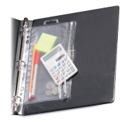 Oxford Zippered Ring Binder Pocket, 6 x 9-1/2, Clear/White