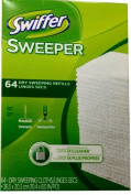 Swiffer Sweeper Dry Sweeping Cloths, Mop and Broom Floor Cleaner Refills Unscented, 64 Count, 2 Pack, 128 Total Wipes