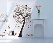 Love Cats Heart Shape Leaves Tree Wall Decal Home Sticker Paper Removable Living Room Bedroom Art Picture DIY Mural Girls Boys Kids Nursery Baby Playroom Decoration + Gift Colourful Butterflies