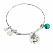 YFN Tree of Life Charm Expandable 925 Sterling Silver Bangle Bar Bracelet