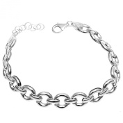 Italian Sterling Silver Rolo Chain Bracelet with Bracelet Length of 18cm Length Extension of 2.5cm , Lobster Clasp