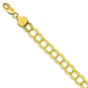 """14K Gold Triple Link Charm Pendant Jewellery Bracelet 7""""x7mm"""