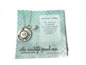 The Vintage Pearl Blessed Mommy Large Layered Pewter Token Charm Necklace