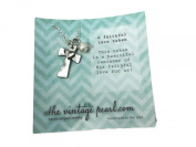 The Vintage Pearl A Faithful Love Token Pewter Cross Charm Necklace