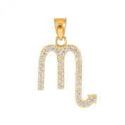 High Polish 14k Yellow Gold Diamond Scorpio Zodiac Charm Pendant