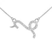 Double-Mounted 14k White Gold Diamond Capricorn Zodiac Pendant Necklace
