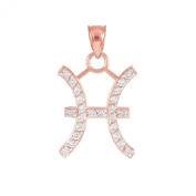 High Polish 14k Rose Gold Diamond Gemini Zodiac Charm Pendant