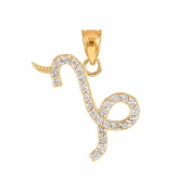 High Polish 14k Yellow Gold Diamond Capricorn Zodiac Charm Pendant