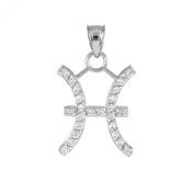 High Polish 14k White Gold Diamond Gemini Zodiac Charm Pendant