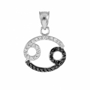 High Polish 14k White Gold Diamond Cancer Zodiac Charm Pendant
