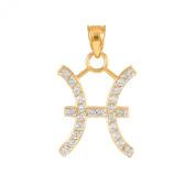 High Polish 14k Yellow Gold Diamond Gemini Zodiac Charm Pendant