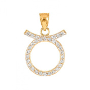 High Polish 14k Yellow Gold Diamond Taurus Zodiac Charm Pendant