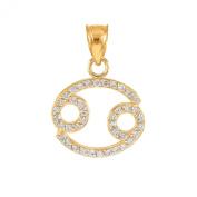 High Polish 14k Yellow Gold Diamond Cancer Zodiac Charm Pendant