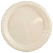 JAM Paper Round Plastic Party Plates - Small - 18cm - Ivory - 20/pack