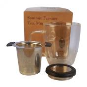 Summit Tea Premium Tea Infuser, Double Walled 350ml Glass Tea Mug with Free Tea Sample
