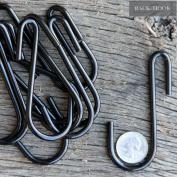10 Pack 8.9cm S Shape Black Finish Steel Hanging Hooks for Kitchenware , Pots , Utensils , Plants , Towels , Gardening Tools , Clothes