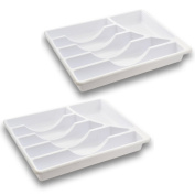 Set of 2 - White Cutlery Trays - 6 Compartments