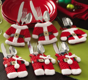 Set of 6 Santa suit Christmas cutlery holder pockets