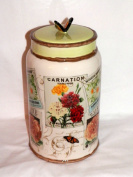 Flower Seed Packets Design with Butterfly Lid Kitchen Storage Canister