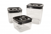 ClickClack Space Cube Set of 3 Small 1, 2, 3.3l Black Lid/Silver Toggle
