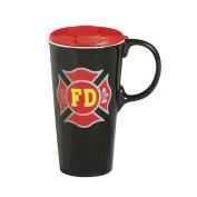Cypress Home Fire Fighter Ceramic Travel Coffee Mug, 500mls