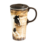 Cypress Home Running Stallion Ceramic Travel Coffee Mug, 500mls