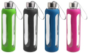 Estilo Glass Water Bottles 590ml, Stainless Steel Cap with Protective Silicone Sleeve-Set of 4
