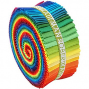 Robert Kaufman Kona Cotton Solids New Classic Palette Jelly Roll Up, 41 6.4cm x 110cm Cotton Fabric Strips