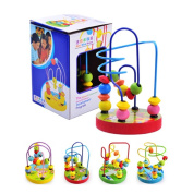 Zerowin New Baby Mini Wooden 12 Beads Maze Multi Colour Educational Toy Gift, 1PC
