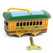 Vintage Tram Trolley Streetcar Tin Toy Collectible Gift with Wind Up Key