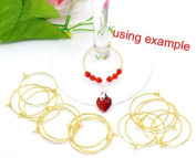 PEPPERLONELY Brand, 200 Gold-plated Brass, 25mm Beading Hoop, for Earrings or Beaded Wine Glass Charms Thin 22 Gauge Wire