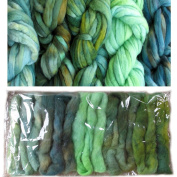 Living Dreams Greenery Colour Sampler, Hand Dyed Felting Wool Roving Fibre for Needle -, Soap - and Wet Felting, 5 Colours