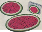 Vintage Crochet PATTERN to make - Watermelon Place Mat Hot Pad Set. NOT a finished item. This is a pattern and/or instructions to make the item only.