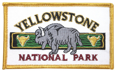 """Yellowstone National Park"" Bison Rectangle Wyoming Wildlife Iron On Applique Patch"