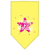 Mirage Scribble Happy Holidays Screen Print Bandana for Pets, Small, Yellow