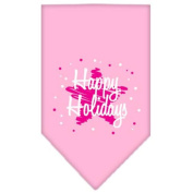 Mirage Scribble Happy Holidays Screen Print Bandana for Pets, Large, Light Pink