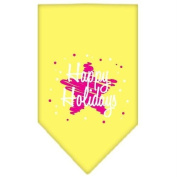 Mirage Scribble Happy Holidays Screen Print Bandana for Pets, Large, Yellow