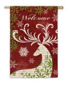Evergreen Suede Christmas Deer Silhouette House Flag, 70cm x 110cm