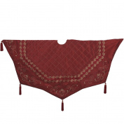 Kurt Adler Burgundy Quilted Treeskirt with Scroll Embroidery and Jacquard Border, 130cm