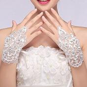 Sunshinesmile Exquisite Fingerless Rhinestone Bridal Gloves Love Prom Gloves