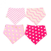 Tosnail Pink Series Baby Bandana Drool Bibs, Girls 4-pack, Cotton of Two Layers