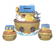 "Bundle of Roman Exclusive ""Noah's Ark"" Children's Keepsake My First Tooth and Curl Box Set and Piggy Bank"