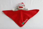 Plush Sock Monkey Christmas I Love (Heart) Snuggle Buddy Rattle