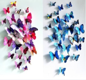 3D Removable 24Pcs Vivid Butterfly Art Decor Wall Stickers Home kid Room Decals Blue Pink