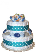 QBabyShowering 2 Tier Cute Decorated Baby Boy Blue Nappy Cake For Babyshower