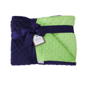 MEG Original Navy Blue & Lime Green Minky Dot Baby Boy/Toddler Crib Blanket 989