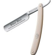 Boker Straight Razor, Silver Steel White Handle 140611, Carbon Steel
