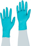 Ansell Touch N Tuff 92-500 Nitrile Glove, Chemical Resistant, Powdered, Disposable, Rolled Beaded Cuff, 24cm Length, 5 mils Thick, Medium